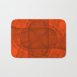 Fractal Eternal Rounded Cross in Red Bath Mat