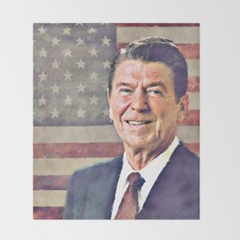 Patriot Ronald Reagan Throw Blanket