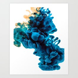 Blue & Yellow Ink in Water Art Print
