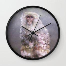 Snow monkey dreams Wall Clock