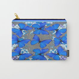 Decorative Blue Shades Butterfly Grey Pattern Art Carry-All Pouch