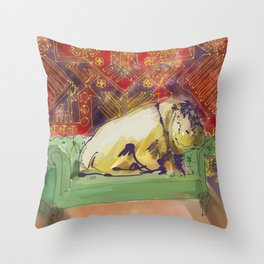 animals in chairs #8 variation on a theme Hippo Throw Pillow