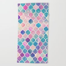 Rainbow Pastel Watercolor Moroccan Pattern Beach Towel