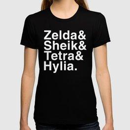 Zelda & Sheik & Tetra & Hylia helvetica list T-shirt