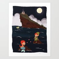 peter pan Art Prints featuring Peter Pan by Orelly
