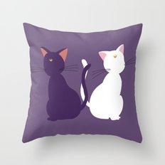 Luna & Artemis (Minimalist) - Purple Throw Pillow