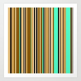 Mint brown stripe Art Print