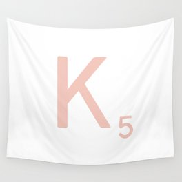 Pink Scrabble Letter K - Scrabble Tile Art and Accessories Wall Tapestry