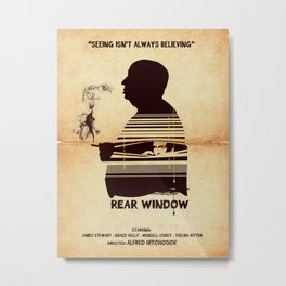Rear Window Hitchcock silhouette art Metal Print
