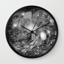 Alien life forms in chaotic space Wall Clock