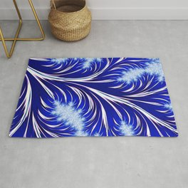 Abstract Blue Christmas Tree Branch with White Snowflakes Rug