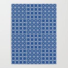 Geometric Tile Pattern Blue Poster