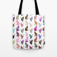 aelwen Tote Bags featuring Girly Whimsical Cats aztec floral stripes pattern by Girly Trend