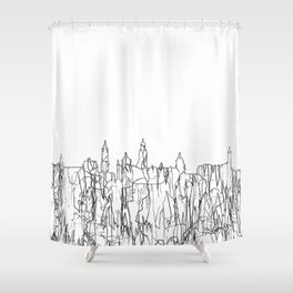 Glasgow, Scotland UK Skyline B&W - Thin Line Shower Curtain