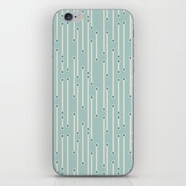 Dotted lines in cream, teal and sea foam iPhone Skin
