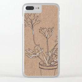 black and white philodendron Clear iPhone Case