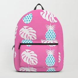 Pineapples and monstera in pink Backpack