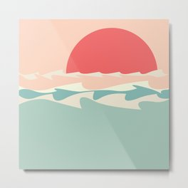 Minimalistic sun and sea waves Metal Print