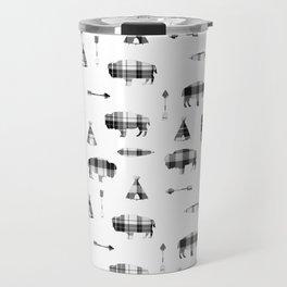 Buffalo Tribe // Grey/Black Plaid Travel Mug