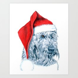 Santa Labradoodle Art Print