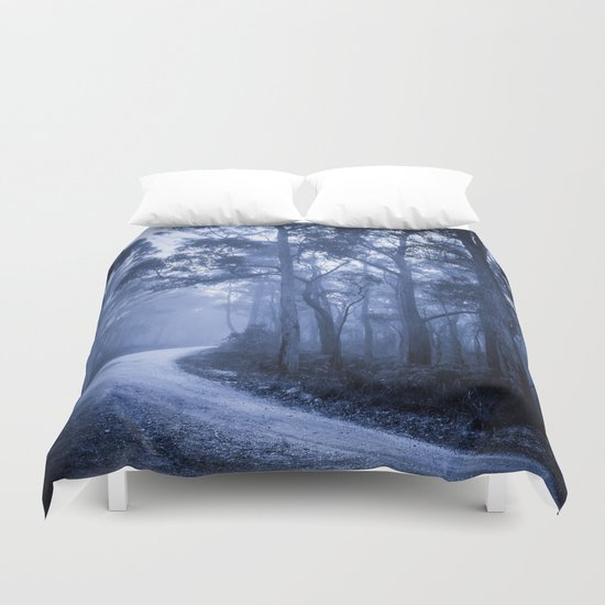 Dark Misty Road Duvet Cover