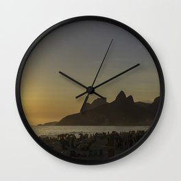 Sunset at Ipanema Beach Wall Clock