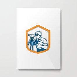 Surveyor Geodetic Engineer Survey Theodolite Shield Retro Metal Print