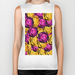 rose pattern texture abstract background in pink and yellow Biker Tank