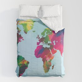 Watercolor World Map Comforters