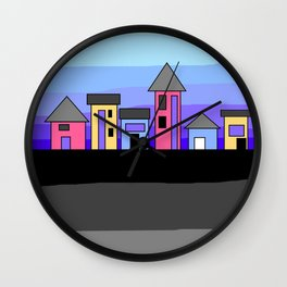 Pastel Evening Houses Wall Clock