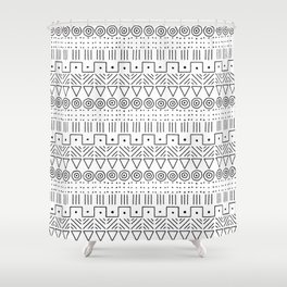 Mudcloth Style 1 in Black on White Shower Curtain