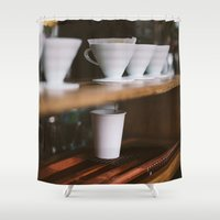 broadway Shower Curtains featuring Coffee at Broadway Market by Diana Eastman
