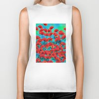 poppies Biker Tanks featuring Poppies by Klara Acel