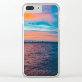 Colorful sea in the night with industrial port Clear iPhone Case