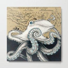 Octopus Tentacles Vintage Map Beige Ink Metal Print
