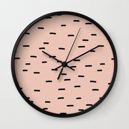 Peach dash abstract stripes pattern Wall Clock