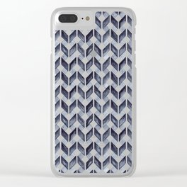 Watercolor Zig Zag Pattern - Indigo Blue Clear iPhone Case