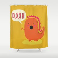 dino Shower Curtains featuring Dino by Proyecto Melón