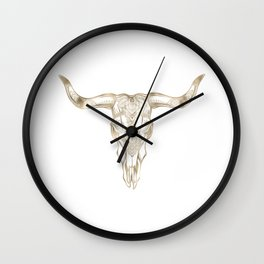 Bull Skull Gold Wall Clock