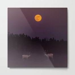 Full Moon - Winter Night With Reindeer At Edge Of Forest #decor #buyart #society6 Metal Print