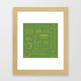 Gardening and Farming! - illustration pattern Framed Art Print