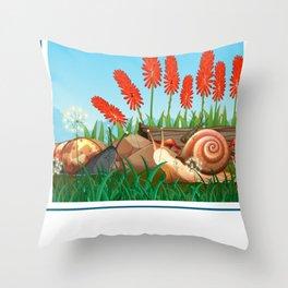 Cute Garden Snails Throw Pillow