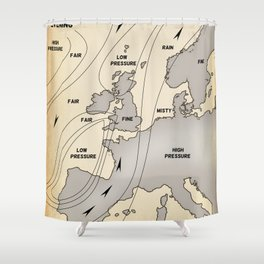 British Isles vintage weather map poster Shower Curtain