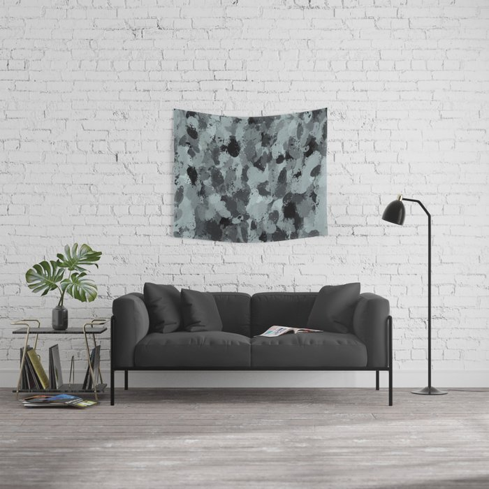 Black and Smokey Blue Pastels 3216 Wall Tapestry