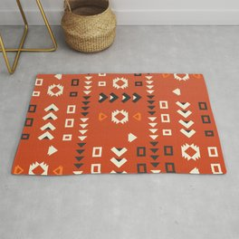American native shapes in red Rug