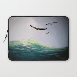 Seaguls Soaring with the Ocean Waves Laptop Sleeve