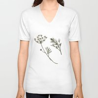 botanical V-neck T-shirts featuring Dill Botanical by CHAR ODEN