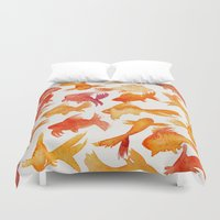 fishing Duvet Covers featuring Goldfish by Cat Coquillette