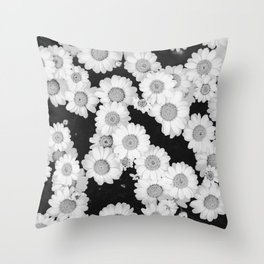 The Daisy Garden (Black and White) Throw Pillow
