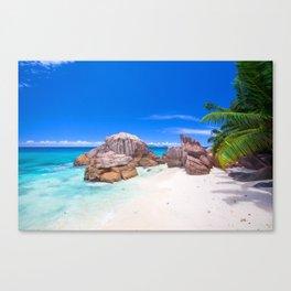 Tropical Blue Sea Sandy Beach Island Canvas Print